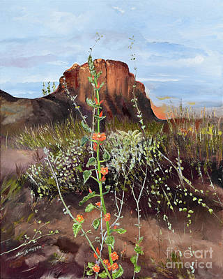Painting - Arizona Desert Flowers-dwarf Indian Mallow by Jan Dappen