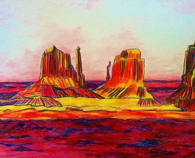 Desert Sunset Drawing - Arizona Desert by Meghan Gallagher