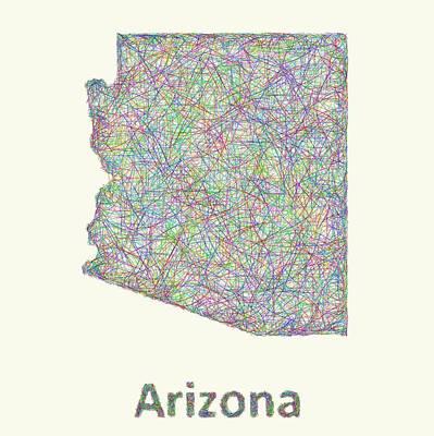 Arizona Map Digital Art - Arizona Line Art Map by David Zydd
