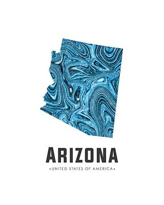Flow Mixed Media - Arizona Map Art Abstract In Blue by Studio Grafiikka