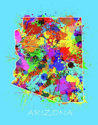 Grand Canyon Digital Art - Arizona Map Color Splatter 2 by Bekim Art