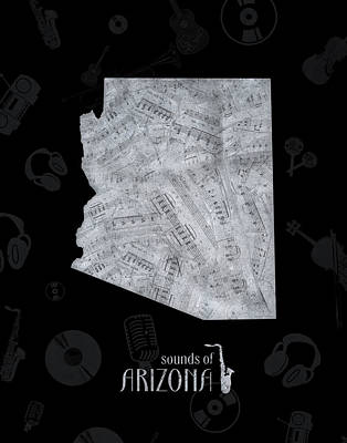 Jazz Royalty Free Images - Arizona Map Music Notes 2 Royalty-Free Image by Bekim M