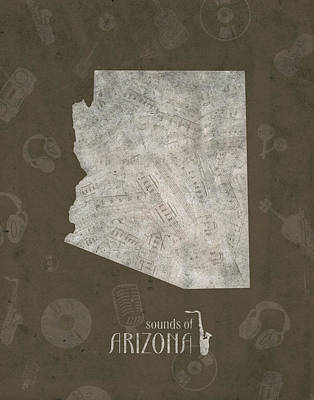 Grand Canyon Digital Art - Arizona Map Music Notes 3 by Bekim Art