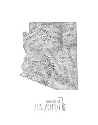 Rock And Roll Royalty-Free and Rights-Managed Images - Arizona Map Music Notes by Bekim Art
