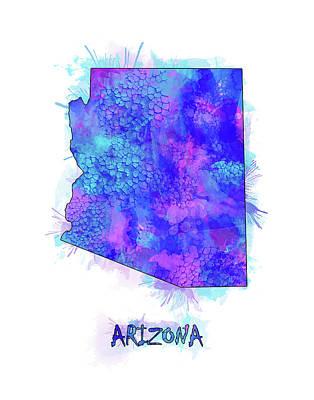 Grand Canyon Digital Art - Arizona Map Watercolor 2 by Bekim Art