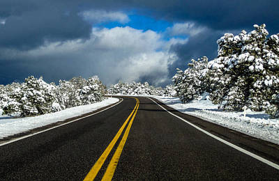 Photograph - Arizona Snow Road by Gregory Daley  PPSA