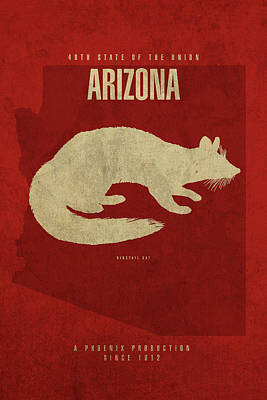 Phoenix Mixed Media - Arizona State Facts Minimalist Movie Poster Art by Design Turnpike