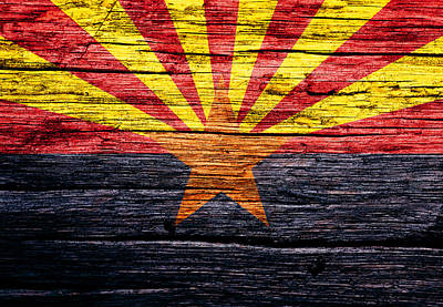 The Hills Mixed Media - Arizona State Flag 3w by Brian Reaves