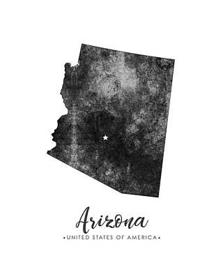 Arizona Map Mixed Media - Arizona State Map Art - Grunge Silhouette by Studio Grafiikka