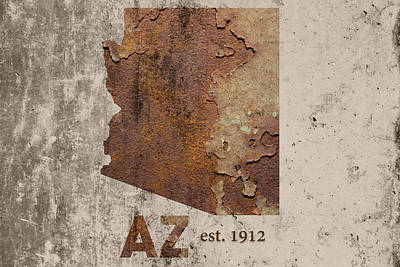 Phoenix Mixed Media - Arizona State Map Industrial Rusted Metal On Cement Wall With Founding Date Series 046 by Design Turnpike