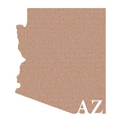 Constitution Mixed Media - Arizona State Map With Text Of Constitution by Design Turnpike