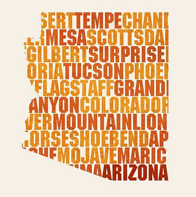 Arizona State Outline Word Map Art Print
