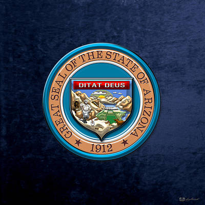 Digital Art - Arizona State Seal Over Blue Velvet by Serge Averbukh