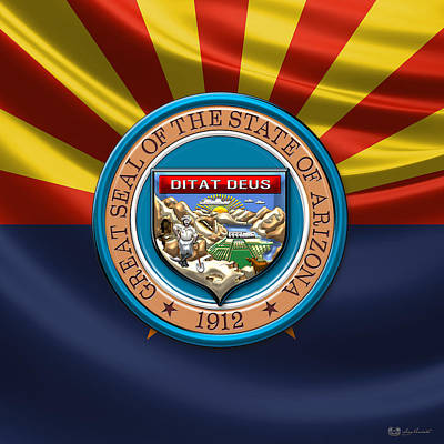 Digital Art - Arizona State Seal Over Flag by Serge Averbukh