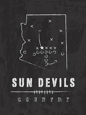 Football Digital Art - Arizona State Sun Devils / Ncaa College Football Art / Tempe by Damon Gray