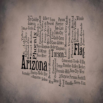 Copper Sunset Mixed Media - Arizona Typographic Map 1b by Brian Reaves