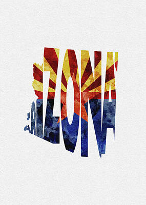 Digital Art - Arizona Typographic Map Flag by Inspirowl Design