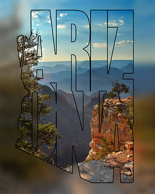 Photograph - Arizona Typography Blur - Sun Setting On Grand Canyon by Gregory Ballos