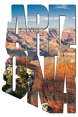 Sun Set Art Digital Art - Arizona Typography - Grand Canyon At Sunset by Gregory Ballos