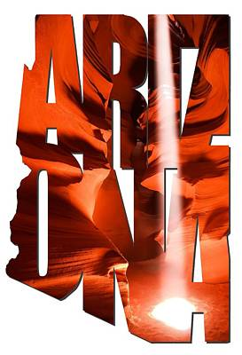 Photograph - Arizona Typography - Heaven's Light by Gregory Ballos