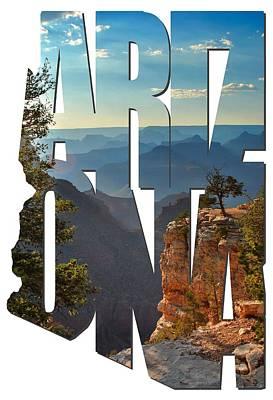 Sun Set Art Digital Art - Arizona Typography - Sun Setting On Grand Canyon by Gregory Ballos