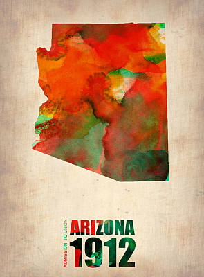 Arizona Watercolor Map Art Print by Naxart Studio