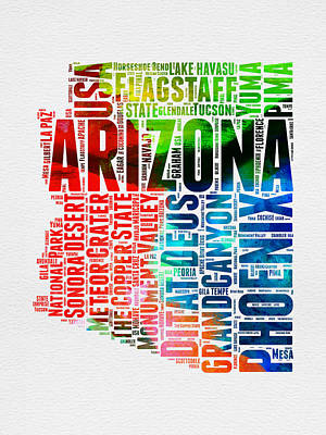 Extinct And Mythical Mixed Media - Arizona Watercolor Word Cloud Map  by Naxart Studio