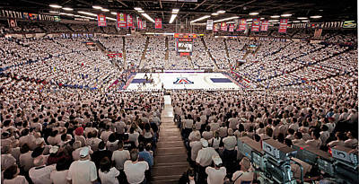 Arizona Wildcats White Out At Mckale Center Art Print by Replay Photos