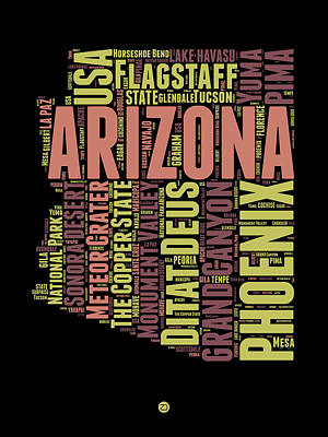 Extinct And Mythical Mixed Media - Arizona Word Cloud Map 1 by Naxart Studio