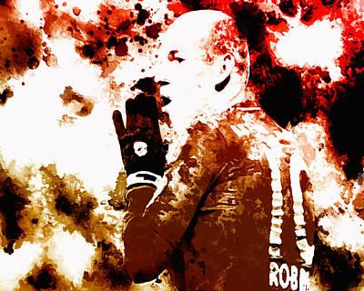 Dribbling Painting - Arjen Robben 2b by Brian Reaves