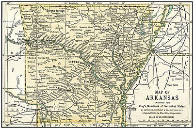 Photograph - Arkansas Antique Map 1891 by Phil Cardamone