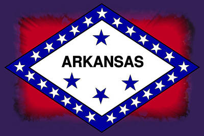 Arkansas Flag Abstract Art Print by Daniel Hagerman