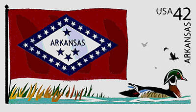 Arkansas Painting - Arkansas Flag by Lanjee Chee
