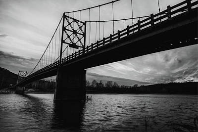 Photograph - Arkansas Golden Gate Bridge - Beaver Bridge - Monochrome by Gregory Ballos