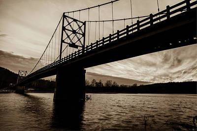 Photograph - Arkansas Golden Gate Bridge - Beaver Bridge - Sepia by Gregory Ballos
