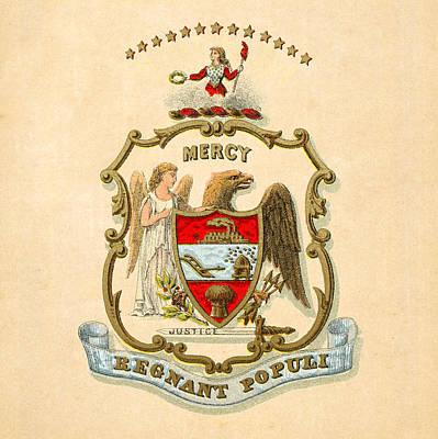 1876 Digital Art - Arkansas Historical Coat Of Arms Circa 1876 by Serge Averbukh