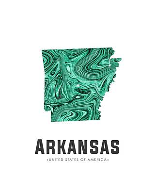 Flow Mixed Media - Arkansas Map Art Abstract In Green by Studio Grafiikka