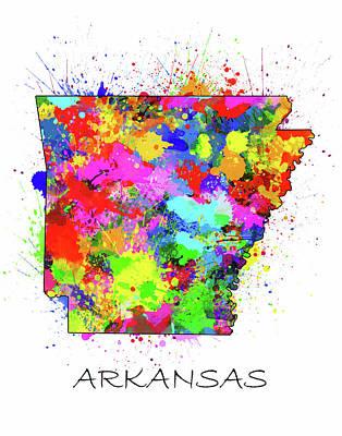Arkansas Digital Art - Arkansas Map Color Splatter by Bekim Art