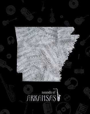 Jazz Royalty-Free and Rights-Managed Images - Arkansas Map Music Notes 2 by Bekim Art