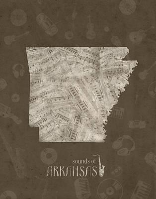Arkansas Digital Art - Arkansas Map Music Notes 3 by Bekim Art