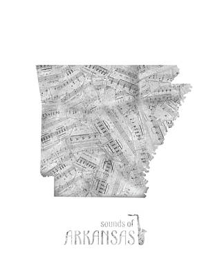 Jazz Royalty-Free and Rights-Managed Images - Arkansas Map Music Notes by Bekim Art
