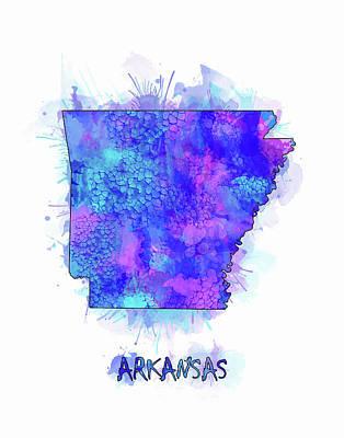 Mississippi State Map Digital Art - Arkansas Map Watercolor 2 by Bekim Art