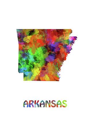 Arkansas Digital Art - Arkansas Map Watercolor by Bekim Art