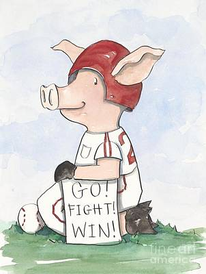 Arkansas Razorback Baseball Piggy Art Print by Annie Laurie