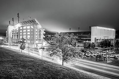 Fayetteville Photograph - Arkansas Razorback Football Stadium At Night - Fayetteville Arkansas Black And White by Gregory Ballos