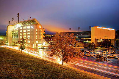 Arkansas Razorback Football Stadium At Night - Fayetteville Arkansas Art Print by Gregory Ballos