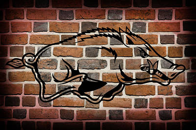 Arkansas Razorbacks Brick Wall Art Print by Daniel Hagerman