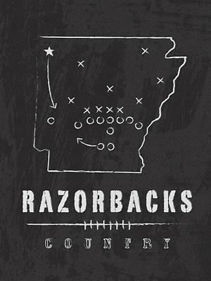 Arkansas Razorbacks / Ncaa College Football Art / Fayetteville Art Print by Damon Gray