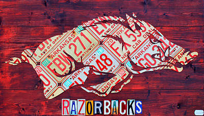 Recycle Mixed Media - Arkansas Razorbacks Recycled Vintage License Plate Art Sports Team Logo by Design Turnpike