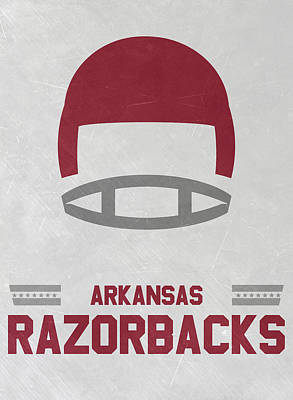 Ncaa Mixed Media - Arkansas Razorbacks Vintage Football Art by Joe Hamilton